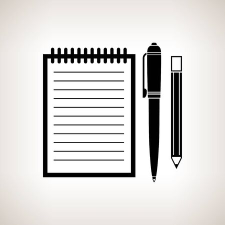 palmtop: Silhouette notebook with the pen and a pencil on a light background , black and white   illustration Stock Photo