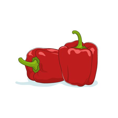 peper: Red Bell Pepper Isolated on White Background, Vegetables Sweet Pepper, Capsicum, Vector Illustration