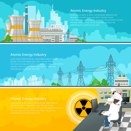reactor: Nuclear Power Plant Horizontal Banners with Text, Nuclear Reactor and Power Lines, Nuclear Station Supplies Electricity to the City, People Near the Control Panel on a Thermal Power Station, Vector