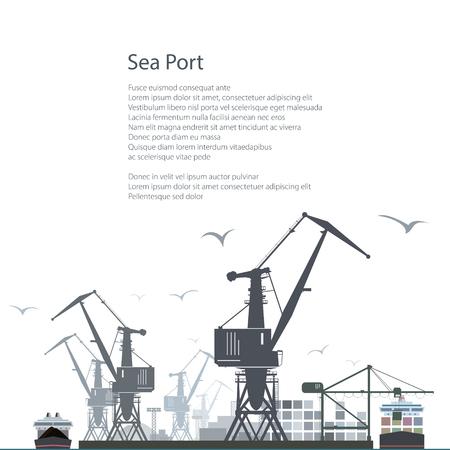 Port Mer isolé sur fond blanc, Déchargement de la cargaison des conteneurs du transporteur de conteneurs, grues et navires à quai, Affiche Brochure Flyer design, vecteur Illustration Vecteurs