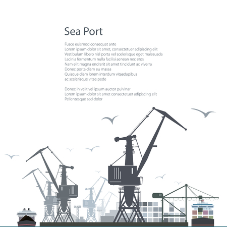 sea port: Sea Port Isolated on White Background, Unloading of Cargo Containers from the Container Carrier, Cranes and Vessels in Dock , Poster Brochure Flyer Design, Vector Illustration