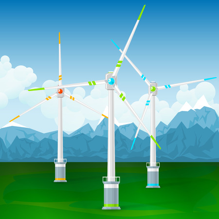 Wind Turbines on the Ground, Horizontal Axis Wind Turbines on a Background of Mountains , Modern Low-Wind Turbine, Vector Illustration