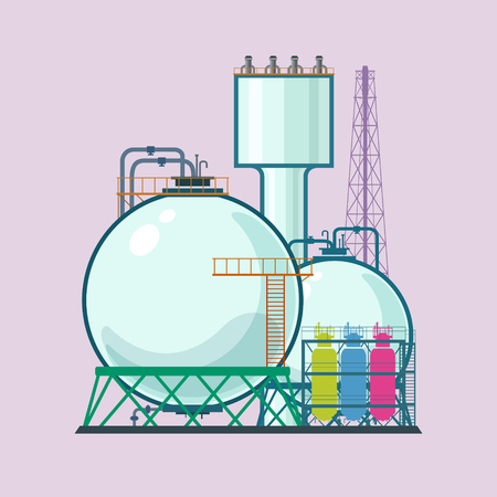 pollutants: Industrial Plant Isolated , Refinery Processing of Natural Resources, Industrial Pipes and Tanks, Chemical Industry, Vector Illustration Illustration