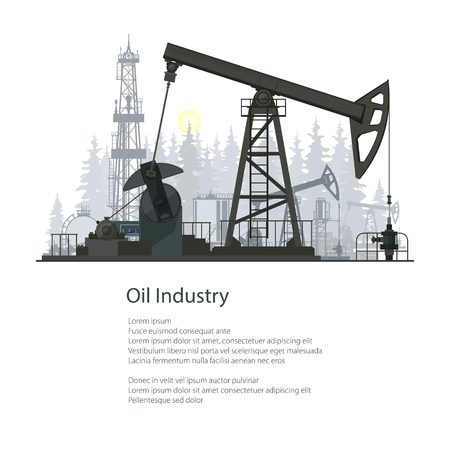 industry poster: Pumpjack or Oil Pump Isolated on White Background, Oil Horse, Pumping Unit, Gasshopper Pump, Oil Industry, Overground Drive for a Reciprocating Piston Pump in an Oil Well, Poster Brochure Flyer Design
