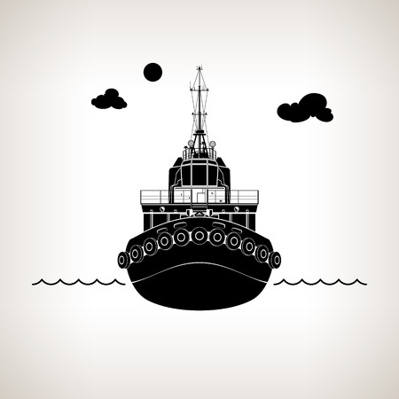 Front View of the Vessel Tugboat, Push Boat on Light Background, Silhouette Tow Boat for to Towage and Mooring of Other Courts , Vector Illustration