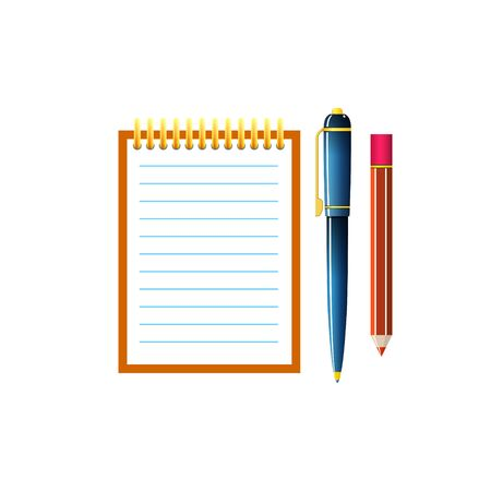 palmtop: Notebook with a Pen and Pencil, Jotter Isolated on White Background, Office Equipment, Vector Illustration