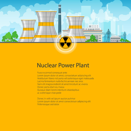 reactor: Nuclear Power Plant on the Background of the City , Thermal Power Station, Nuclear Reactor and Power Lines, Poster Brochure Flyer Design, Text on Yellow Background, Radiation Sign,Vector Illustration
