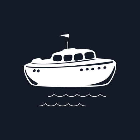 Lifeboat Isolated on Black Background, Marine Rescue Vessel, Vector Illustration