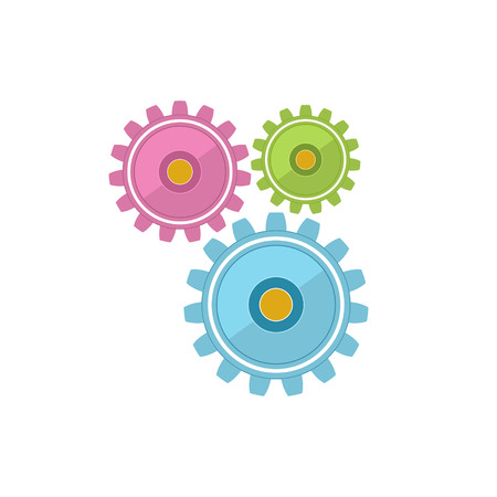 Gears Isolated on White Background, Teamwork, Joint Effort, Team Effort, Vector Illustration Illustration
