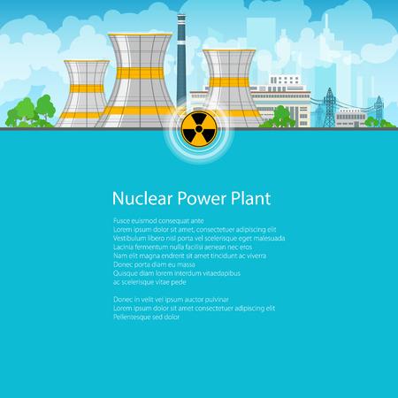 Kernkraftwerk auf dem Hintergrund der Stadt, Thermalkraftwerk, Atomreaktor und Stromleitungen, Poster Broschüre Flyer, Text auf blauem Hintergrund, Strahlungs-Zeichen, Vektor-Illustration