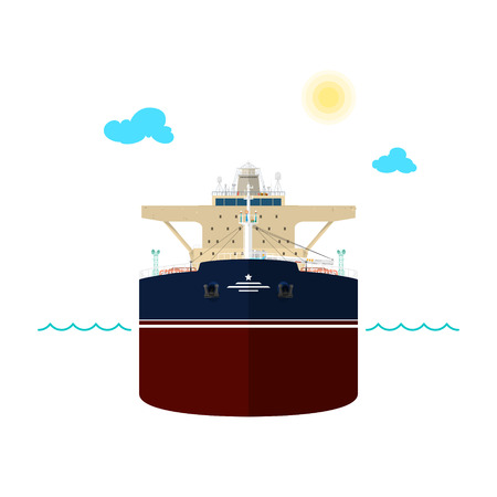 oil tanker: Front View of the Vessel, Oil Tanker on White Background, International Freight Transportation, Vessel for the Transportation of Goods, Vector Illustration