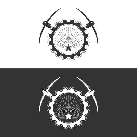 Star et Sunburst engrenage avec pioche sur fond blanc et gris, élément de Design industrie minière, Illustration vectorielle