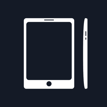 mobil phone: Phone, Smartphone Isolated on Black Background, Front and Side Views, Tablet Computer, Vector Illustration