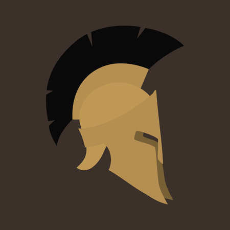 antiques: Antiques Roman or Greek Helmet Isolated , Helmet with a Crest of Feathers or Horsehair with Slits for the Eyes and Mouth, Design Element, Vector Illustration