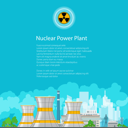 reactor: Nuclear Power Plant on the Background of the City , Thermal Power Station, Nuclear Reactor and Power Lines, Poster Brochure Flyer Design, Radiation Sign,Vector Illustration