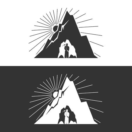 shaft: Miner against Mountains on White and Gray Background ,Mining Industry, Design Element, Mine Shaft Concept, Vector Illustration