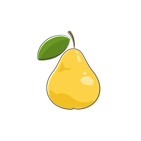 ripened: Yellow Pear Isolated on White Background, Fruit Pear, Vector Illustration Illustration