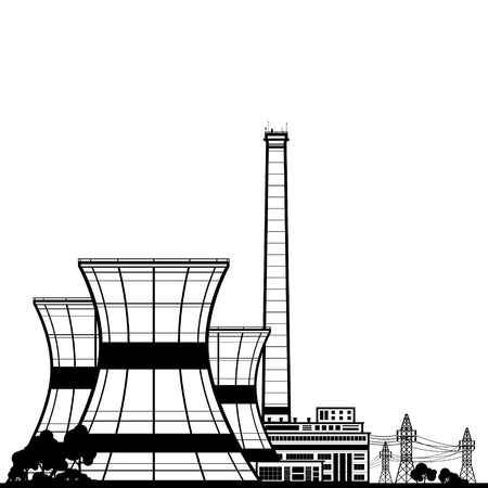 reactor: Silhouette Nuclear Power Plant , Thermal Power Station, Nuclear Reactor and Power Lines,Black and White Vector Illustration Illustration