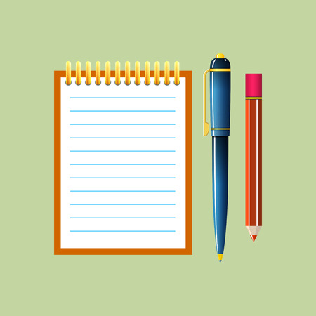 jotter: Notebook with a Pen and Pencil, Jotter Isolated on Green Background, Office Equipment, Vector Illustration