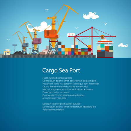 shipbuilder: Sea Port, Unloading of Cargo Containers from the Container Carrier, Cranes in Port Load Containers on the Container Ship or Unload, Poster Brochure Flyer Design, Vector Illustration