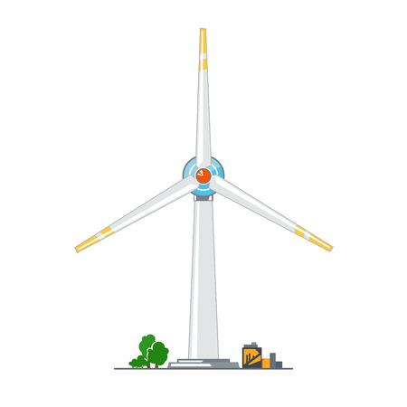 Wind Turbine on White Background, Horizontal Axis Wind Turbine, Vector Illustration