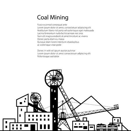 Coal Mining, komplexe Industrieanlagen mit Halde und mit Schienen-Autos, Kohleindustrie, Poster Broschüre Flyer Design, Vektor-Illustration