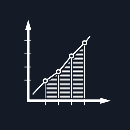 Chart , Graphic Success, Graph Growth Isolated on Black Background, Vector Illustration Illustration