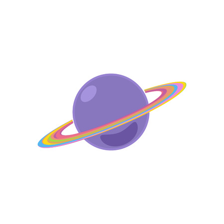 galactic: Planet Saturn Isolated on White Background, Vector Illustration