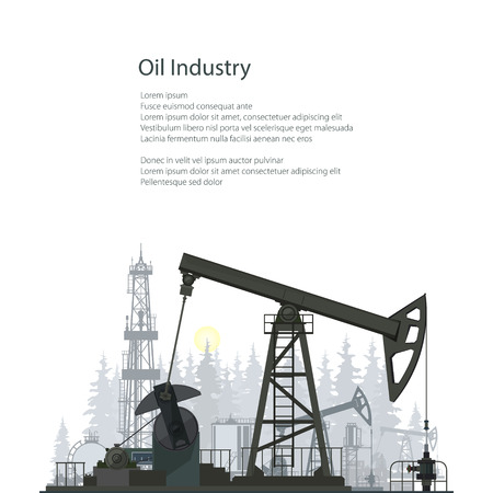 Pumpjack, Oil Pump Isolated on White Background, Oil Horse, Pumping Unit, Gasshopper Pump, Oil Industry, Overground Drive for a Reciprocating Piston Pump in an Oil Well, Poster Brochure Flyer Design