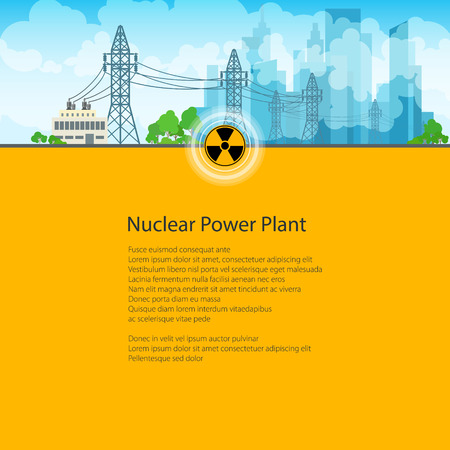 telegraph: High Voltage Power Lines Supplies Electricity to the City, Poster Brochure Flyer Design, Text on Yellow Background,Radiation Sign, Vector Illustration Illustration