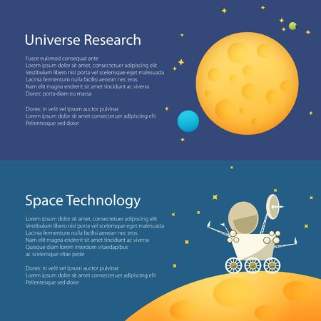 moon rover: Moon in Space Among the Stars and Planets,Planet Rover on the Moon among the Stars in Space ,Horizontal Banners, Flat Design, Vector Illustration