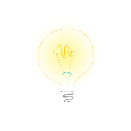 yellow bulb: Yellow Bulb on White Background, Lit Light Bulb, Idea Concept, Vector Illustration
