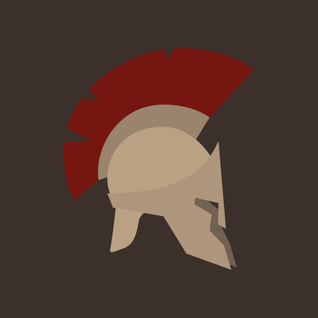 slits: Antiques Roman or Greek Helmet Isolated, Helmet with a Dark Red Crest of Feathers or Horsehair with Slits for the Eyes and Mouth, Vector Illustration