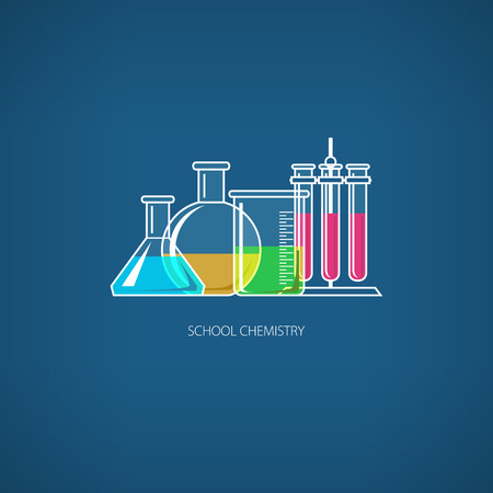 reagent: Flasks Beakers and Test-tubes, Chemical Laboratory Equipment on Blue Background, School Chemistry, Vector Illustration