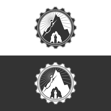 excavation: Miner against Mountains in Gear on White and Gray Background ,Mining Industry Logo Design Element, Mine Shaft Concept, Vector Illustration