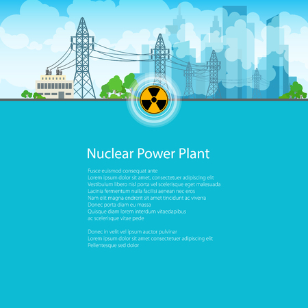 telephone pole: High Voltage Power Lines Supplies Electricity to the City, Poster Brochure Flyer Design, Text on Blue Background,Radiation Sign, Vector Illustration