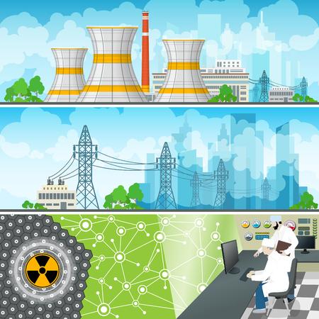 Kernkraftwerk horizontale Banner, AKW-Reaktor und Stromleitungen, Kernkraftwerk liefert Strom an die Stadt, Personen in der Systemsteuerung auf einem Thermal Power Station, Vektor Standard-Bild - 63072785