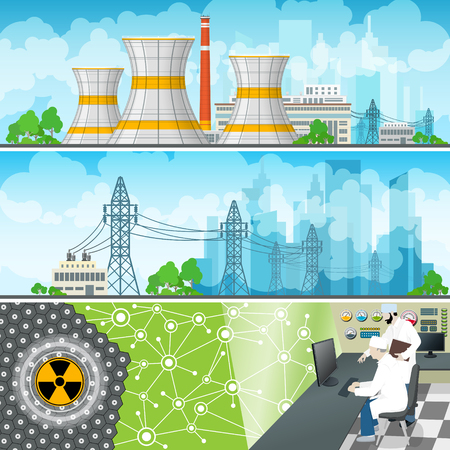 Nuclear Power Plant Horizontal Banners,Nuclear Reactor and Power Lines, Nuclear Station Supplies Electricity to the City, People Near the Control Panel on a Thermal Power Station,Vector