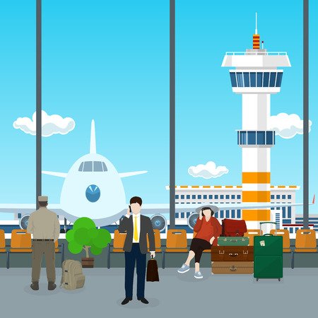 through travel: Airport , a Waiting Room with People, View on Airplane and Control Tower through the Window from a Waiting Room , Scoreboard Arrivals at Airport, Travel Concept, Flat Design, Vector Illustration