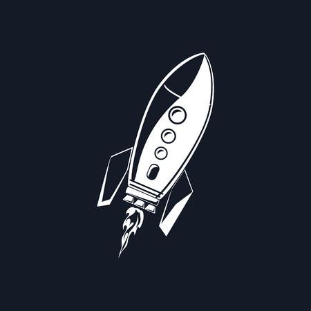 Rocket, White Spaceship Isolated on BLack Background, Vector Illustration