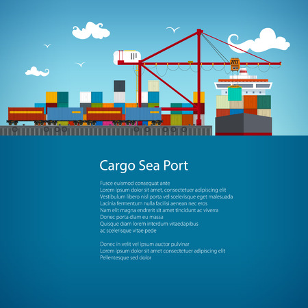 sea freight: SeaPort, Cranes Load Containers on the Container Ship , Cargo the Train Transports Containers , Sea Freight Transportation, Poster Brochure Flyer Design, Vector Illustration Illustration