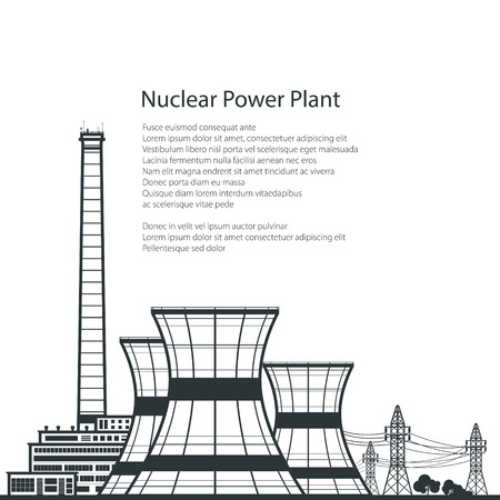 reactor: Silhouette Nuclear Power Plant ,Silhouette Thermal Power Station and Text, Nuclear Reactor and Power Lines, Vector Illustration