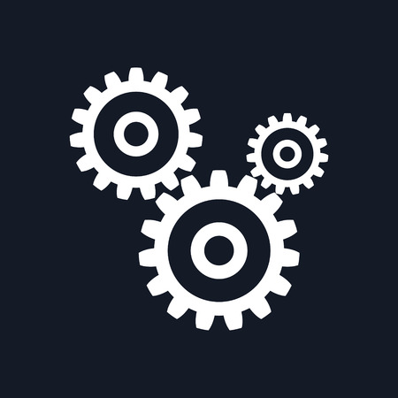Gears Isolated on Black Background, Teamwork, Joint Effort, Team Effort, Vector Illustration