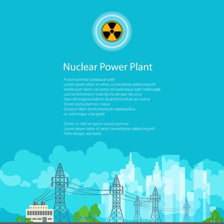 amperage: High Voltage Power Lines Supplies Electricity to the City, Poster Brochure Flyer Design, Radiation Sign, Vector Illustration Illustration