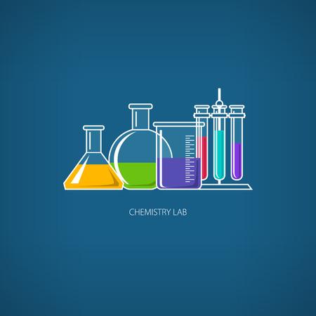reagent: Flasks Beakers and Test-tubes, Chemical Laboratory Equipment on Blue Background, Chemistry Lab, Vector Illustration Illustration