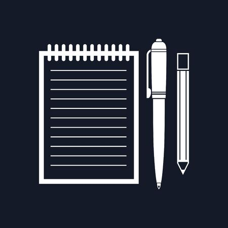 jotter: Notebook with a Pen and Pencil, Jotter Isolated on Black Background, Office Equipment, Vector Illustration