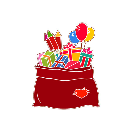 merrychristmas: Red Bag of Santa Claus with Gifts Isolated on White Background, a Bag with Gifts and Multicolored Firecrackers and Balloons, Vector Illustration