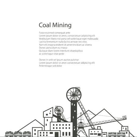 industrial complex: MIne, Complex Industrial Facilities with Spoil Tip and with Rail Cars, Coal Industry, Poster Brochure Flyer Design, Vector Illustration