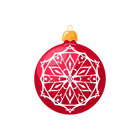 merrychristmas: Red Ball with Snowflake Isolated on White Background , Christmas Tree Decoration, Merry Christmas and Happy New Year, Vector Illustration