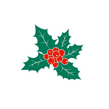 Colorful Christmas Holly Berry Isolated on White Background, Christmas Decorations, Merry Christmas and Happy New Year , Vector Illustration